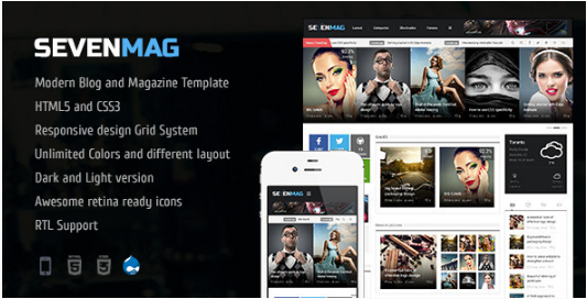 SevenMag - BlogMagzineGamesNews Drupal Theme