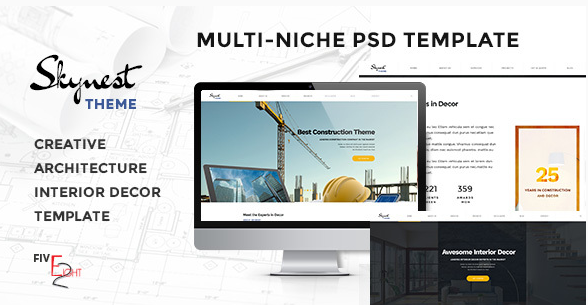 Skynest - Multi-Niche PSD Template for Construction, Architecture, and Interior Design Business