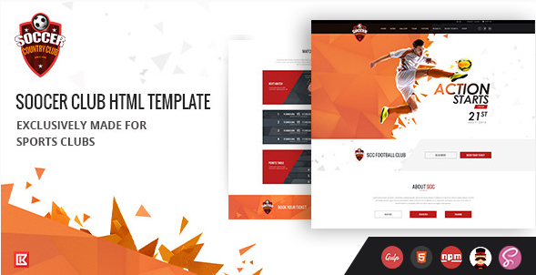 Soccer Club  Sports Club Html Template
