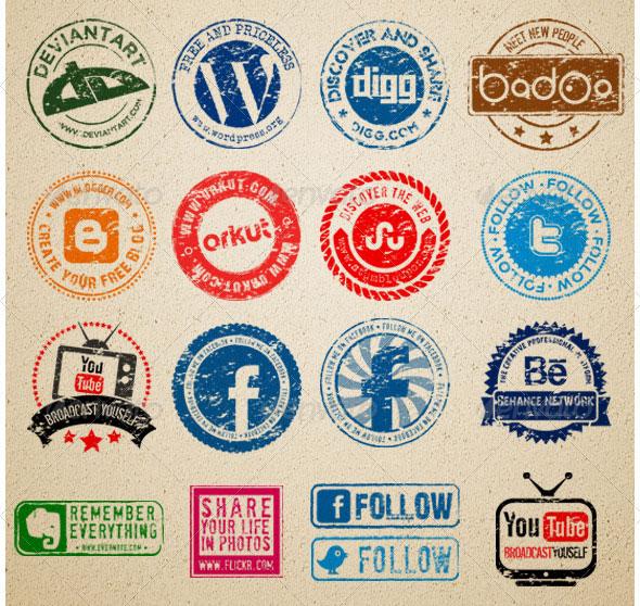 Social Media Rubber stamps