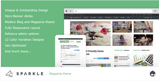 Sparkle - Responsive NewsMagazine Drupal theme
