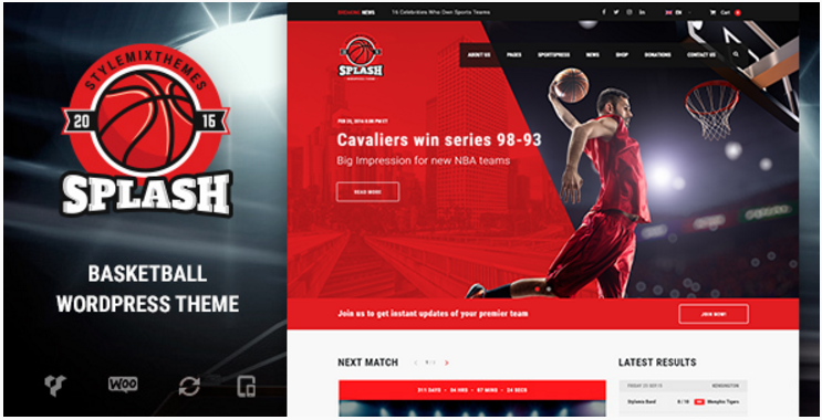 Splash - Basketball, Sports WordPress Theme