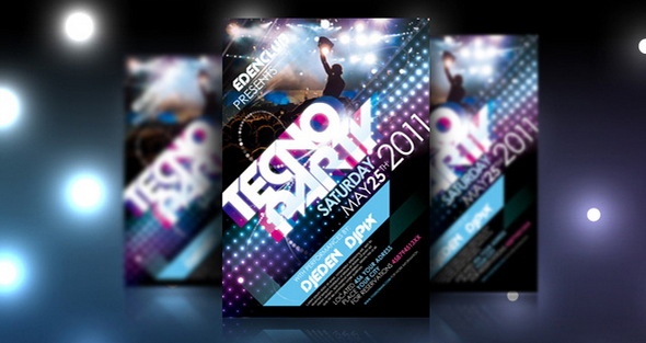 Tecno Party Flyer Template Psd