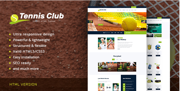 Tennis Club  Sports & Events Site Template