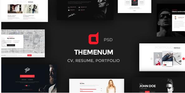 Themenum - Personal Vcard Resume & Cv PSD Template
