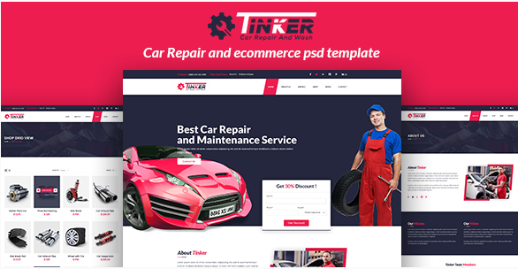 Tinker - Car Repair and eCommerce PSD
