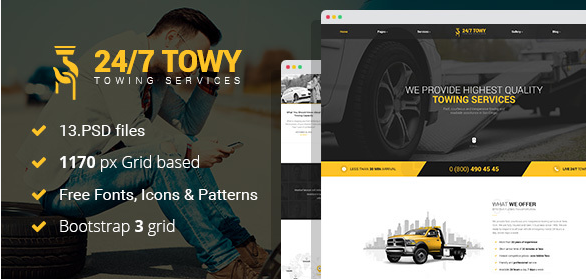 Towy - Emergency Auto Towing and Roadside Assistance Service PSD Template