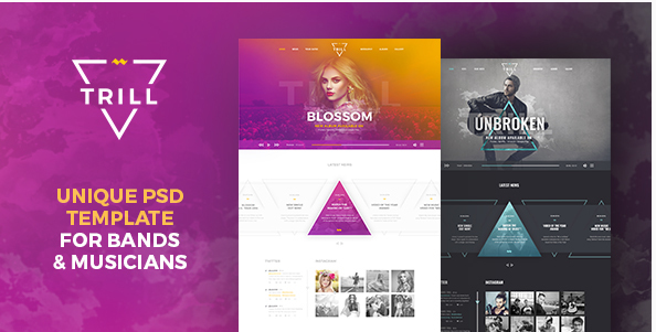 Trill - Modern PSD music template for bands & musicians