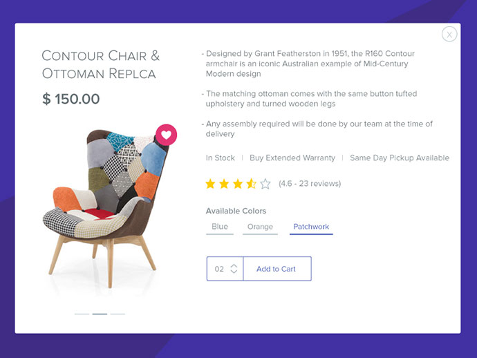Uncluttered Product Card View