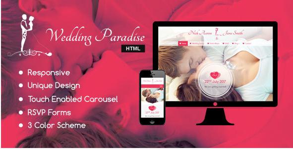 Wedding Paradise – Responsive HTML Wedding Template