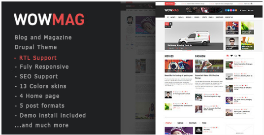 WowMag - Blog Magazine News Drupal Theme