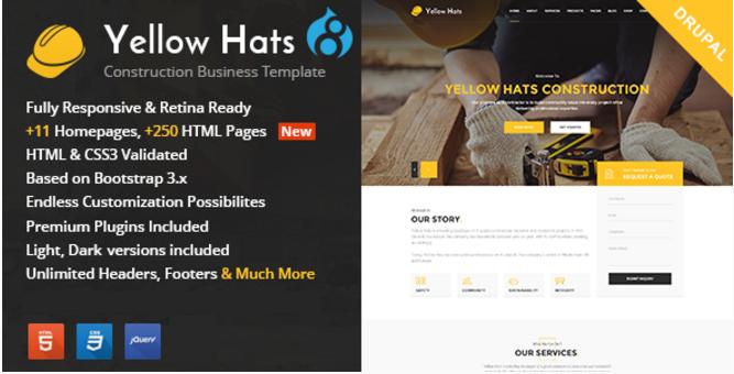 Yellow Hats - Construction, Building & Renovation Drupal Theme