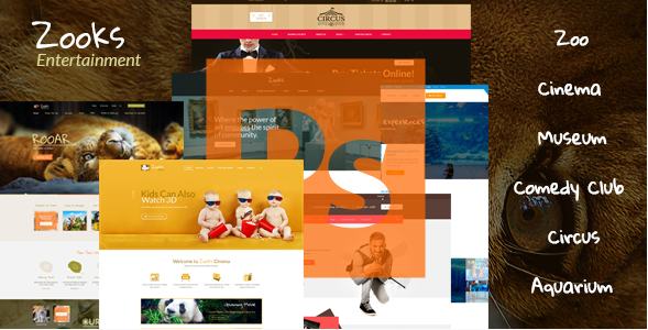 Zooks - Zoo, Cinema, Museum, Comedy Club, Circus & Aquarium PSD Template
