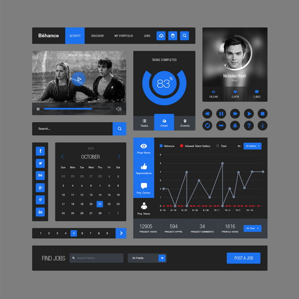 behance-style-flat-ui-kit