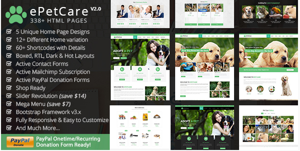 ePetCare - Pet Care, Pets Club, Veterinary & Shop HTML5 Template