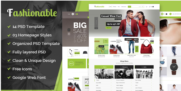 fashionable– eCommerce PSD Template