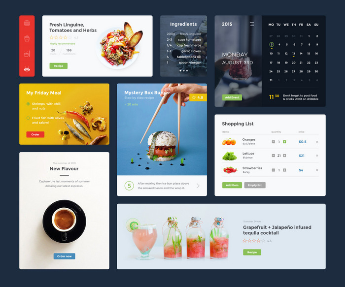 Top Free Flat UI Kits PSD For Mobile Apps, Websites