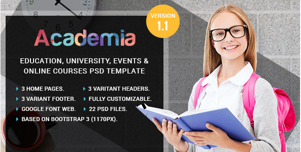 Academia - Education, Course & Event PSD Template