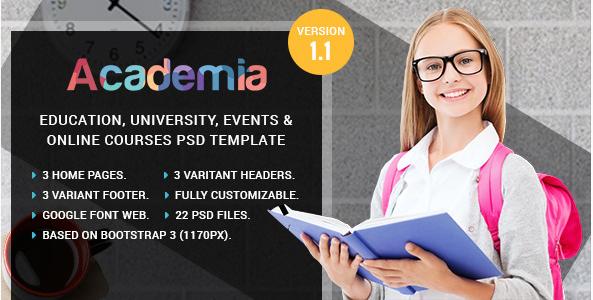 Academia - Education, Course & Event PSD Template