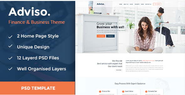 Adviso - Finance, Consulting, Business PSD Template!