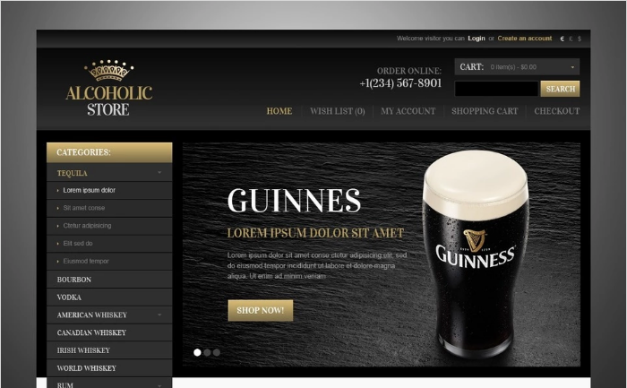 Alcoholic Store OpenCart Template