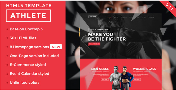 Athlete - Fitness, Gym and Sport HTML template
