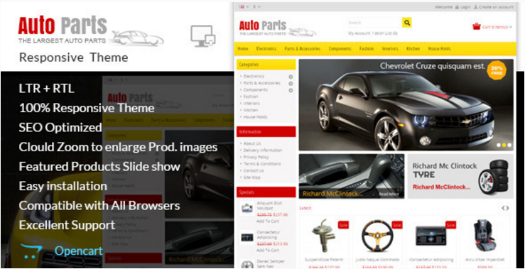 Auto Parts: Technology OpenCart Themes