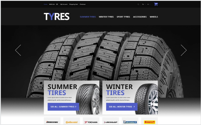 Automobile Tires OpenCart Template