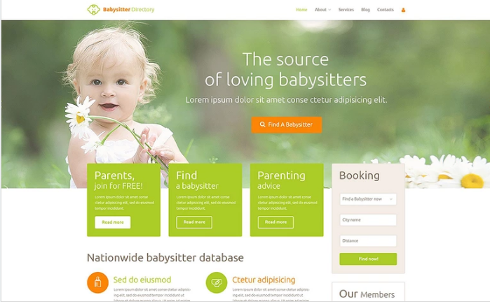 Babysitter Directory PSD Template