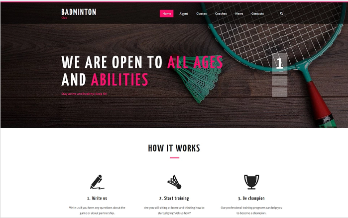 Badminton Club Website Template