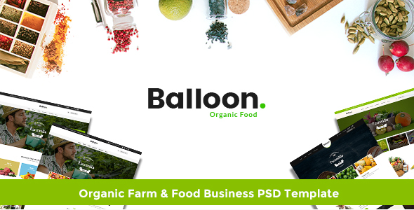 Balloon Organic Farm & Food Business PSD Template