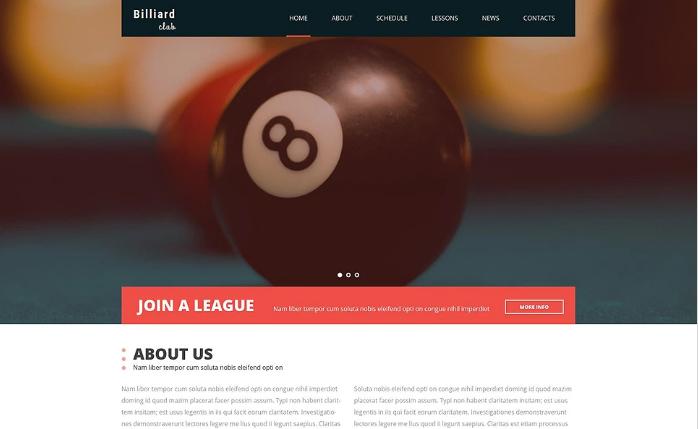 Billiard Room Website Template