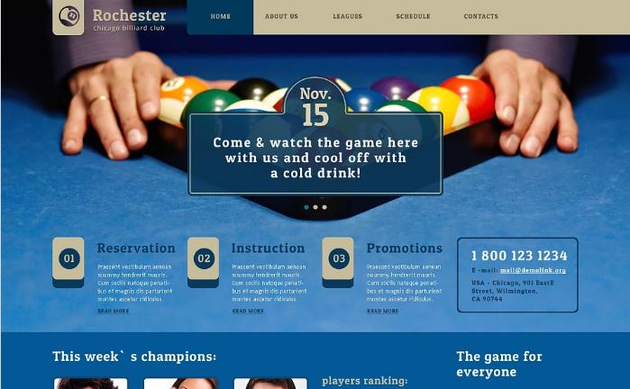 Billiards Responsive Website Template