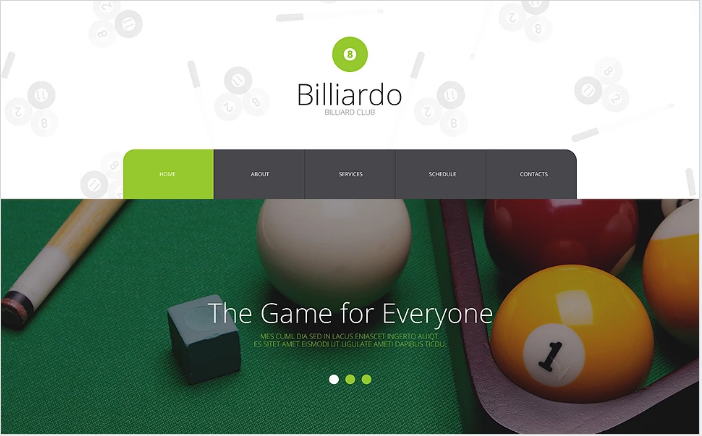 Billiards Responsive Website Template