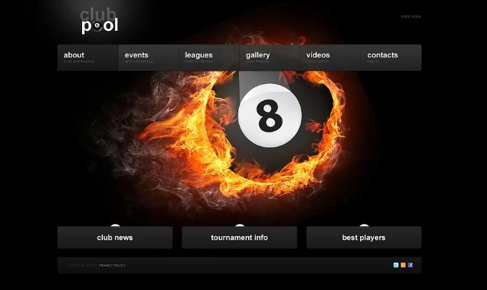 Billiards Website Template