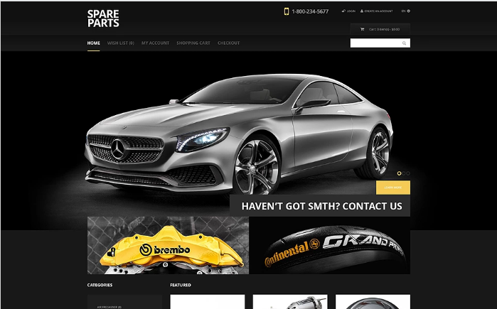 Black Auto Parts OpenCart Template