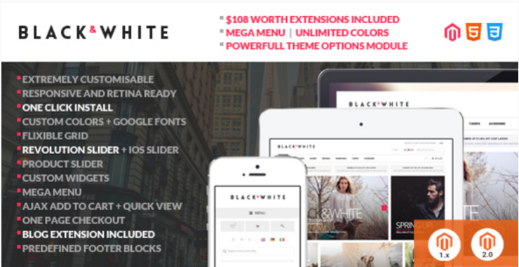Black&White - Responsive Magento 2 and Magento 1 Theme