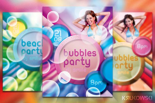 Bubbles Party Flyer PSD Free Download