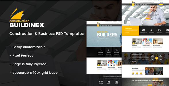 Buildinex - Construction & Business PSD Templates