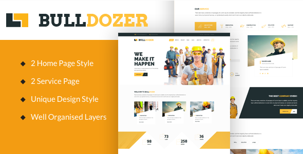 Bulldozer - Construction PSD Template