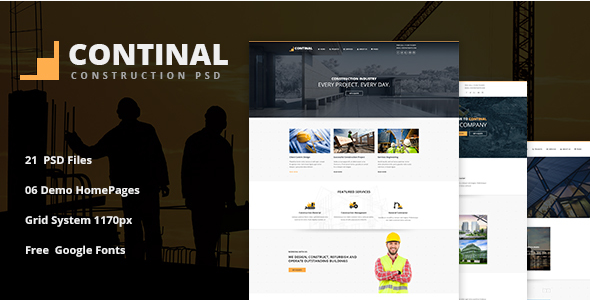 CONTINAL - Construction Business PSD Template