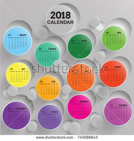 Calendar of 2018 with Multi-colors