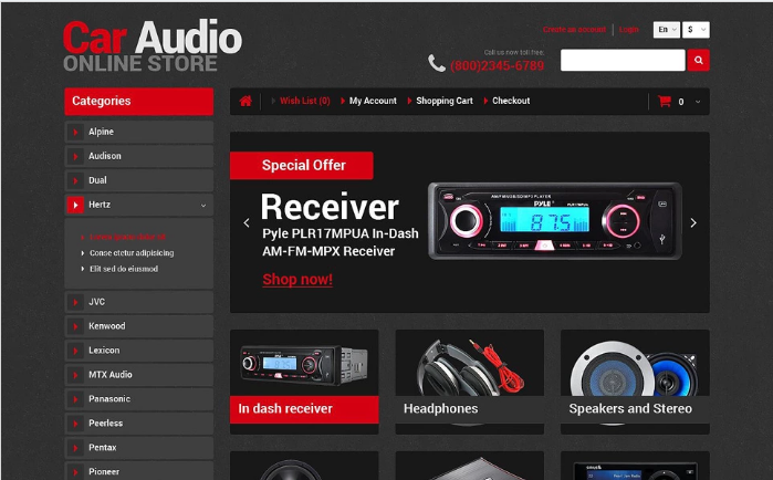 Car Audio Store OpenCart Template