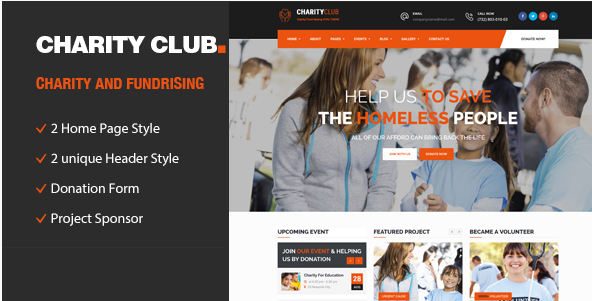 Charity Club Responsive HTML Template for Charity & Fund Raising