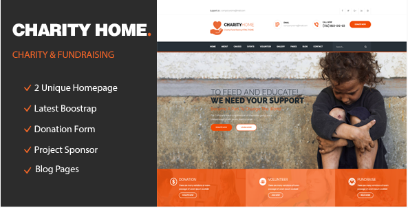 Charity Home - Responsive HTML Template for Charity & Fund Raising