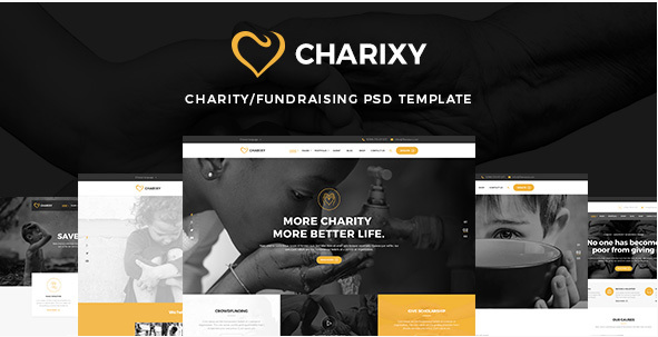 Charixy - Charity Fundraising PSD Template