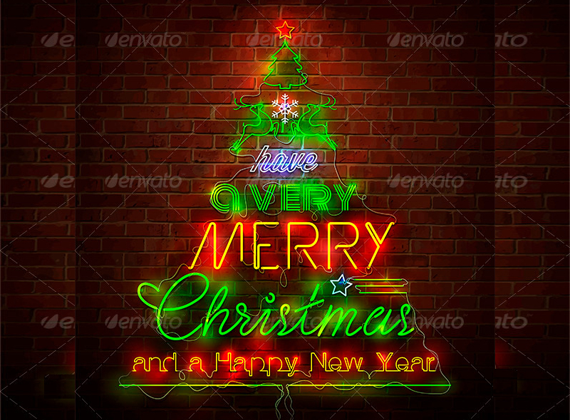 Christmas-Neon-Sign-Against-Red-Wall