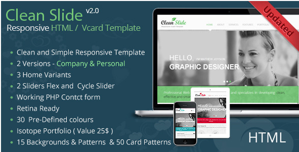 Clean Slide Responsive HTML Template Vcard