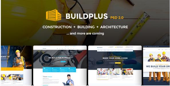 Construction PSD Template - Build Plus (Building, Construction, Cleaning, Plumbing)