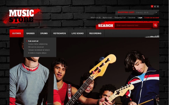 Cool Music OpenCart Template